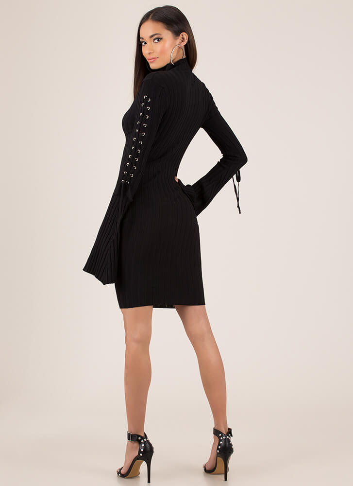 To Tie For Ribbed Bell-Sleeve Midi Dress BLACK