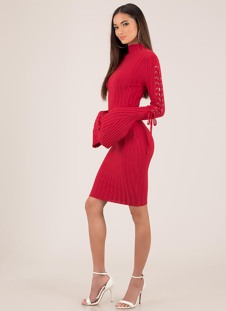 To Tie For Ribbed Bell-Sleeve Midi Dress RED