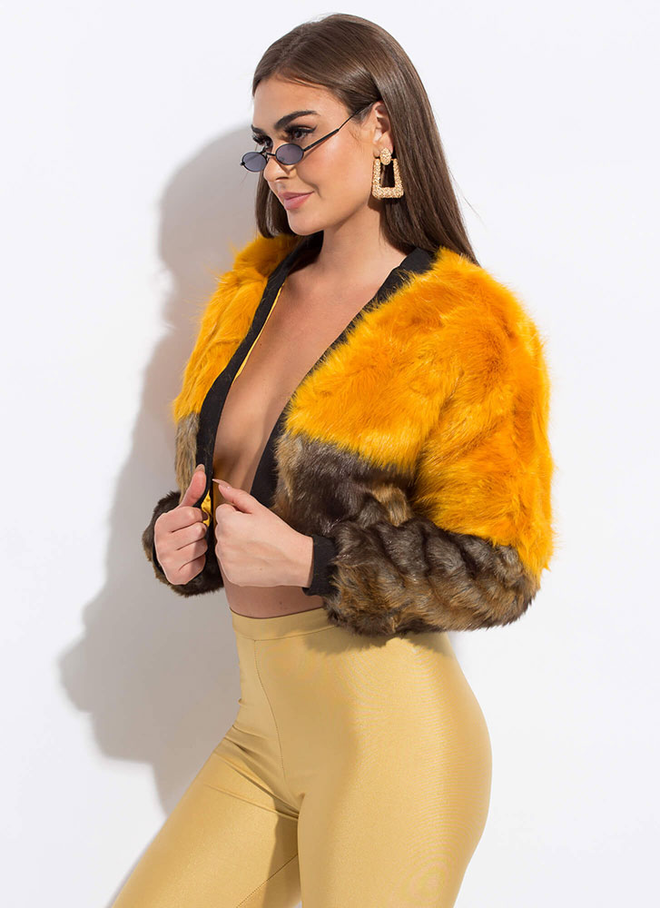 She Bad Cropped Colorblock Faux Fur Coat MUSTRDMULT
