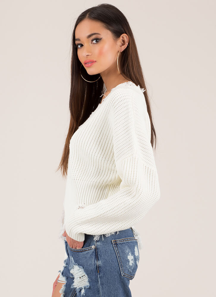 Tatter Of Fact Distressed Knit Sweater IVORY