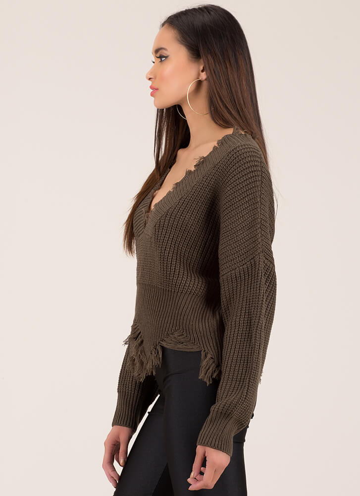 Tatter Of Fact Distressed Knit Sweater OLIVE