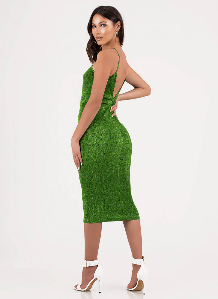Champagne Sparkly Strappy Midi Dress GREEN