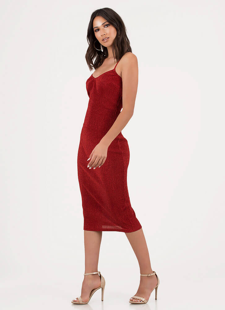 Champagne Sparkly Strappy Midi Dress RED
