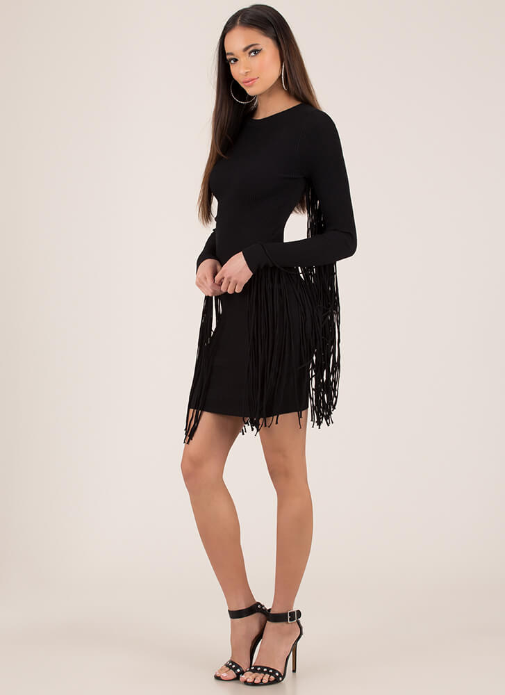 Give Me Wings Fringed Rib Knit Dress BLACK