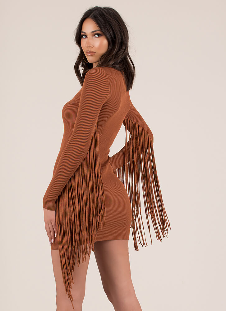 Give Me Wings Fringed Rib Knit Dress BROWN