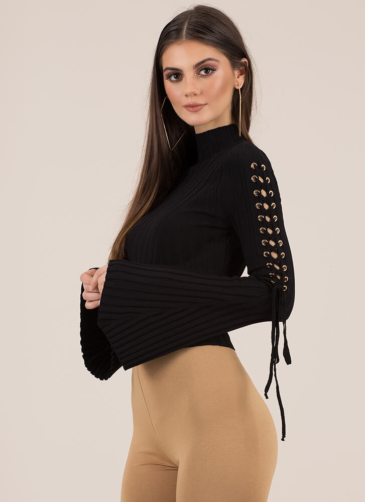 To Tie For Ribbed Bell-Sleeve Crop Top BLACK