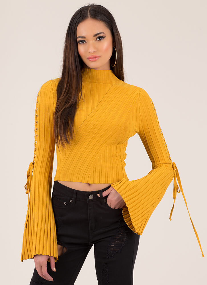 To Tie For Ribbed Bell-Sleeve Crop Top MUSTARD
