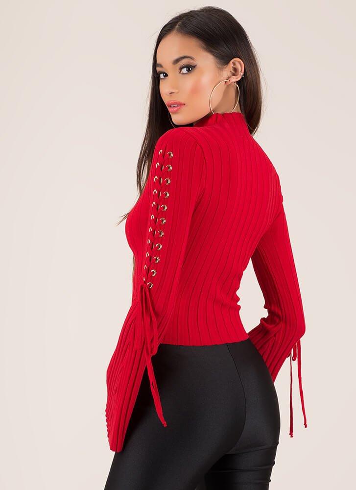 To Tie For Ribbed Bell-Sleeve Crop Top RED