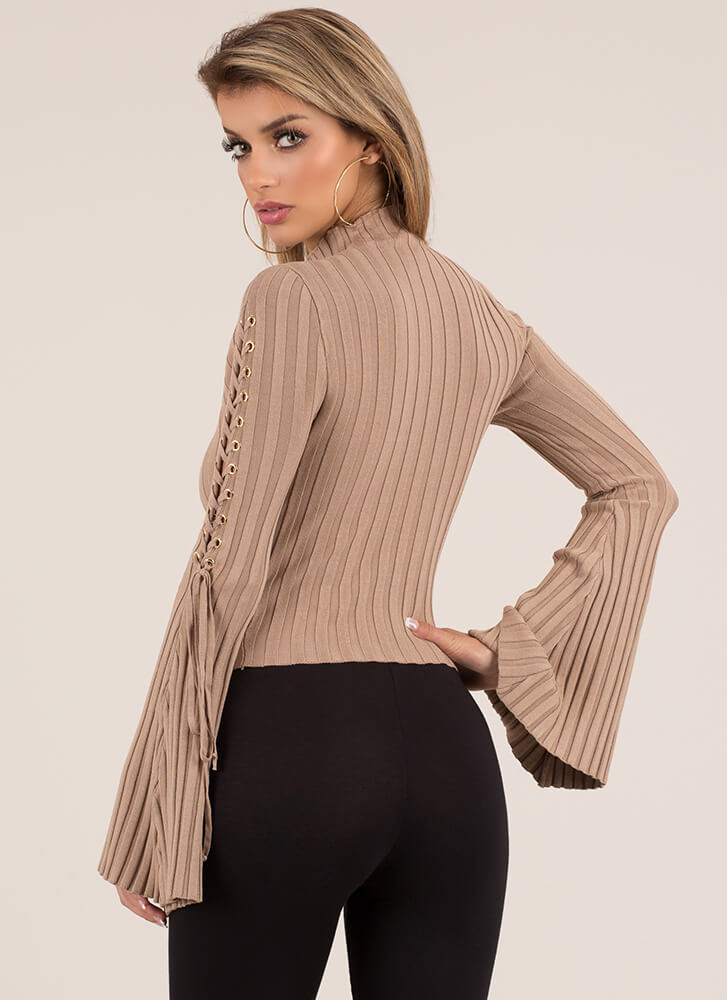 To Tie For Ribbed Bell-Sleeve Crop Top TAUPE