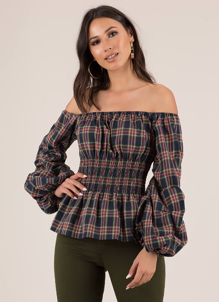 Plaid Party Off-Shoulder Puff Sleeve Top NAVY (Final Sale)