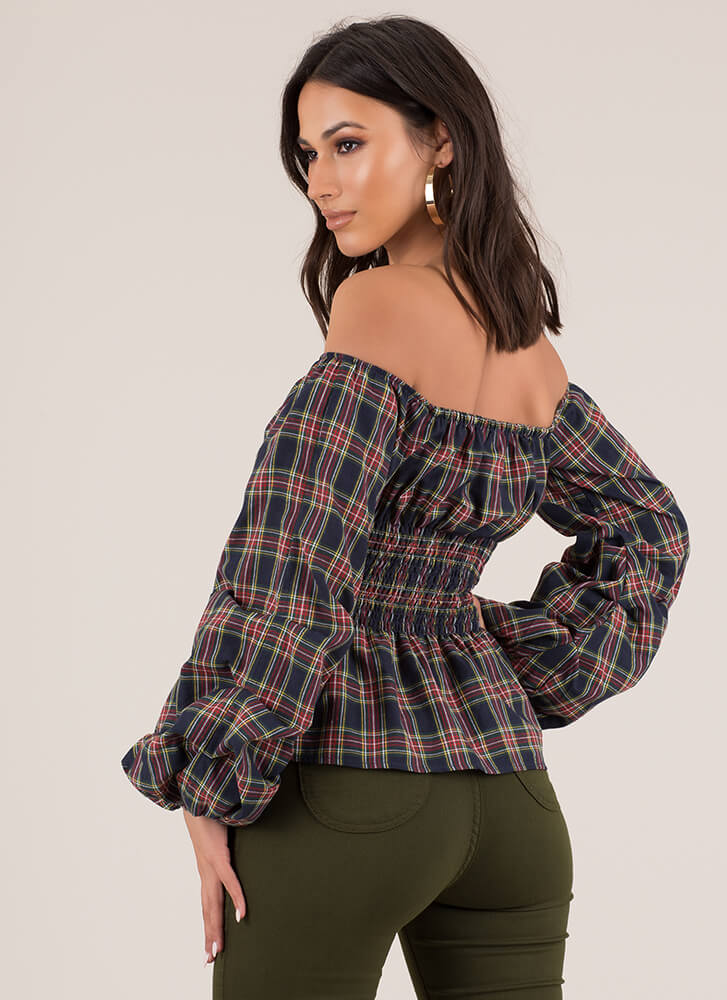 Plaid Party Off-Shoulder Puff Sleeve Top NAVY