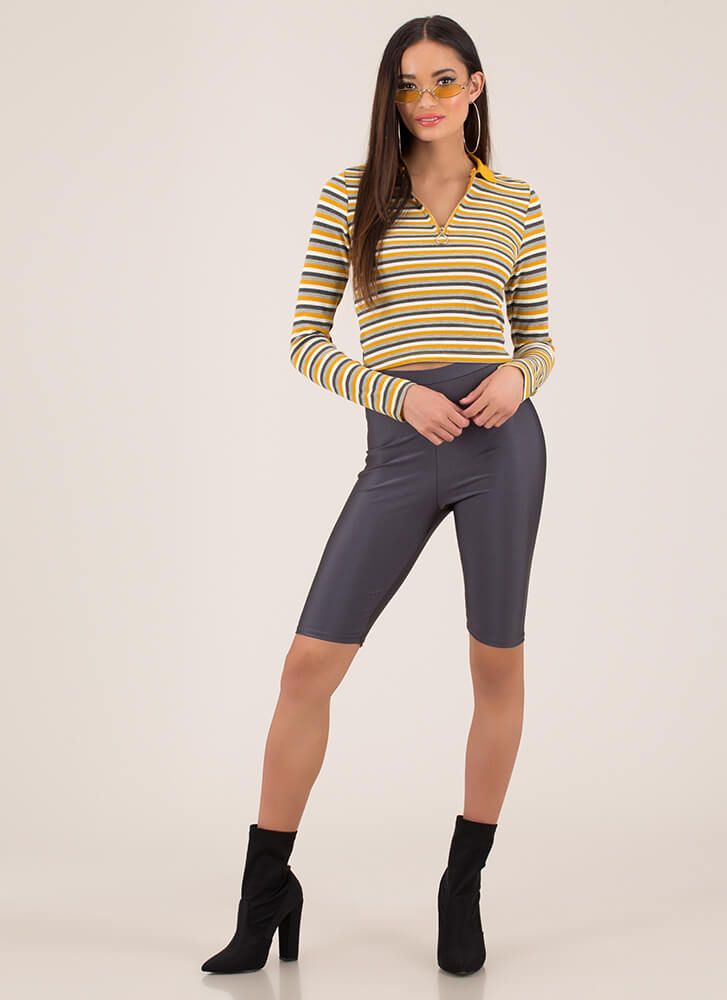Run Lines Striped Zip-Front Crop Top MUSTRDMULTI