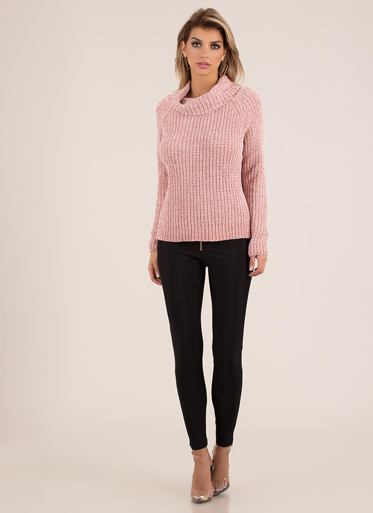 Softie Chenille Turtleneck Sweater PINK