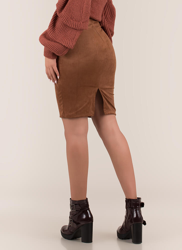 Form Or Function Faux Suede Pencil Skirt TAUPE