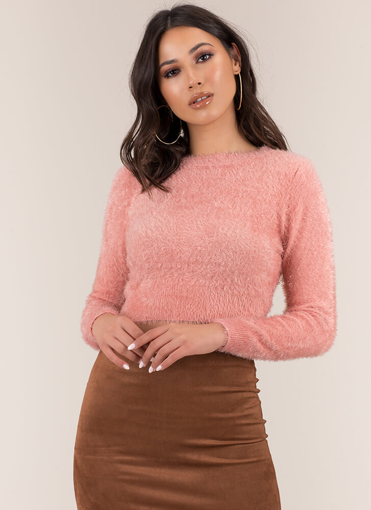 Cute And Fuzzy Cropped Knit Sweater PINK
