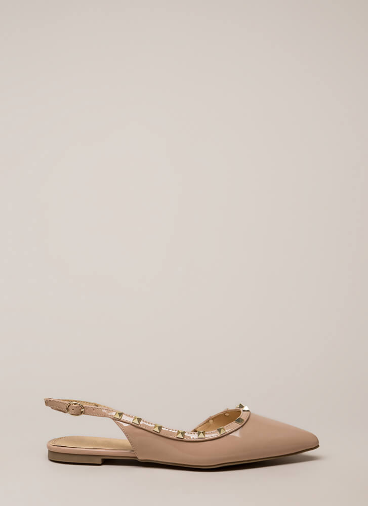 My Good Side Pointy Studded Flats NUDE