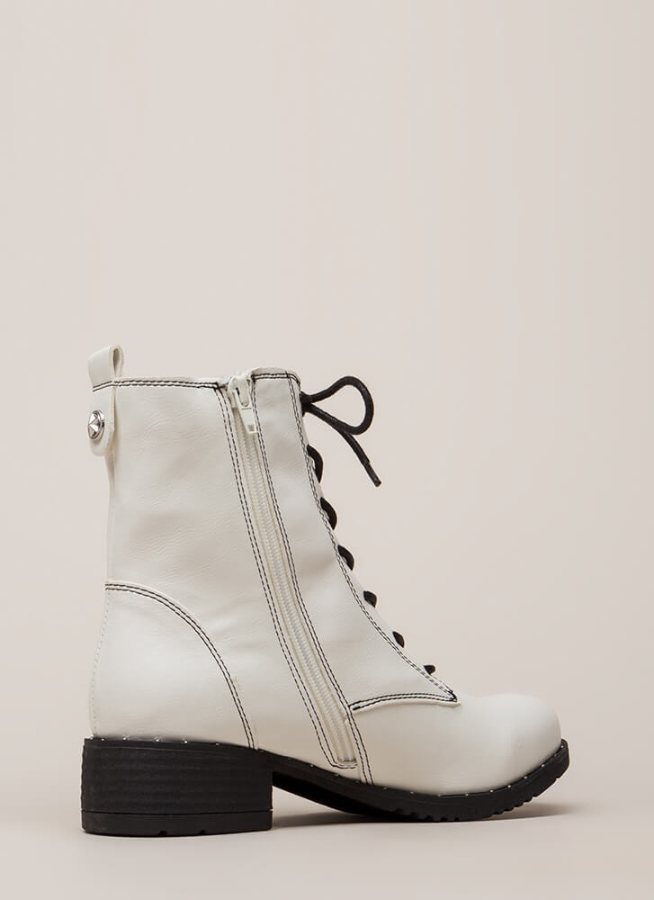 Go Fight Win Faux Leather Combat Boots WHITE (You Saved $21)