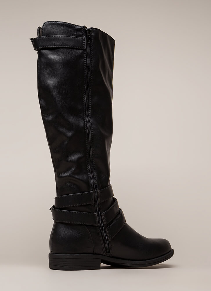 Gallop Strappy Buckled Riding Boots BLACK (You Saved $27)