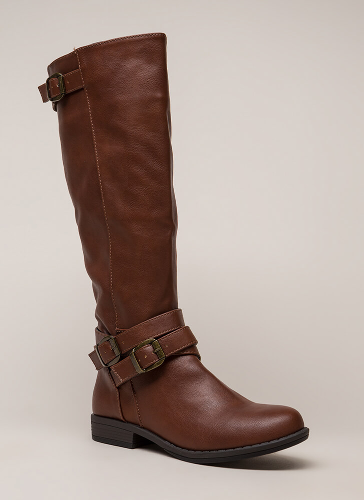 Gallop Strappy Buckled Riding Boots CHESTNUT (You Saved $27)