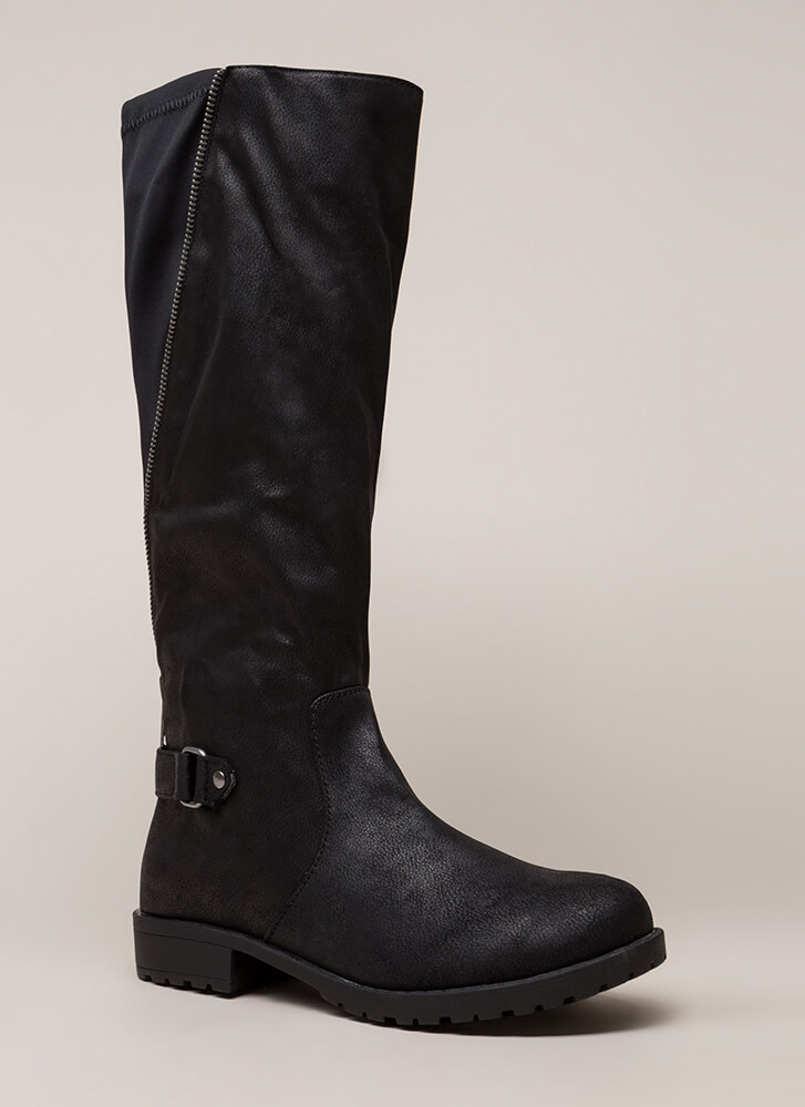 Truth Revealed Zipper Riding Boots BLACK