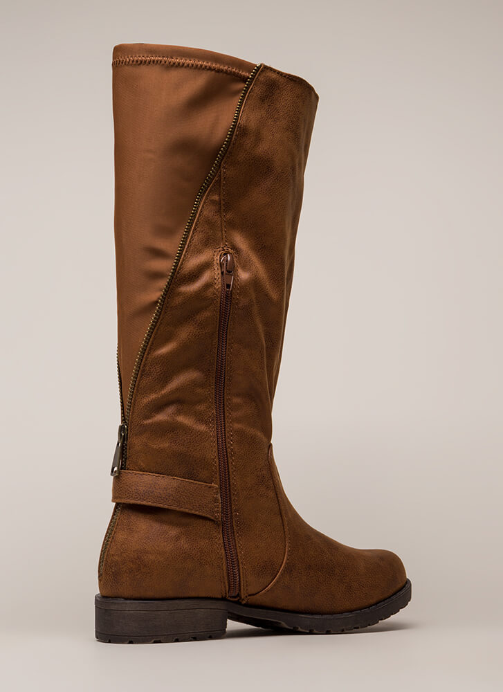 Truth Revealed Zipper Riding Boots CHESTNUT
