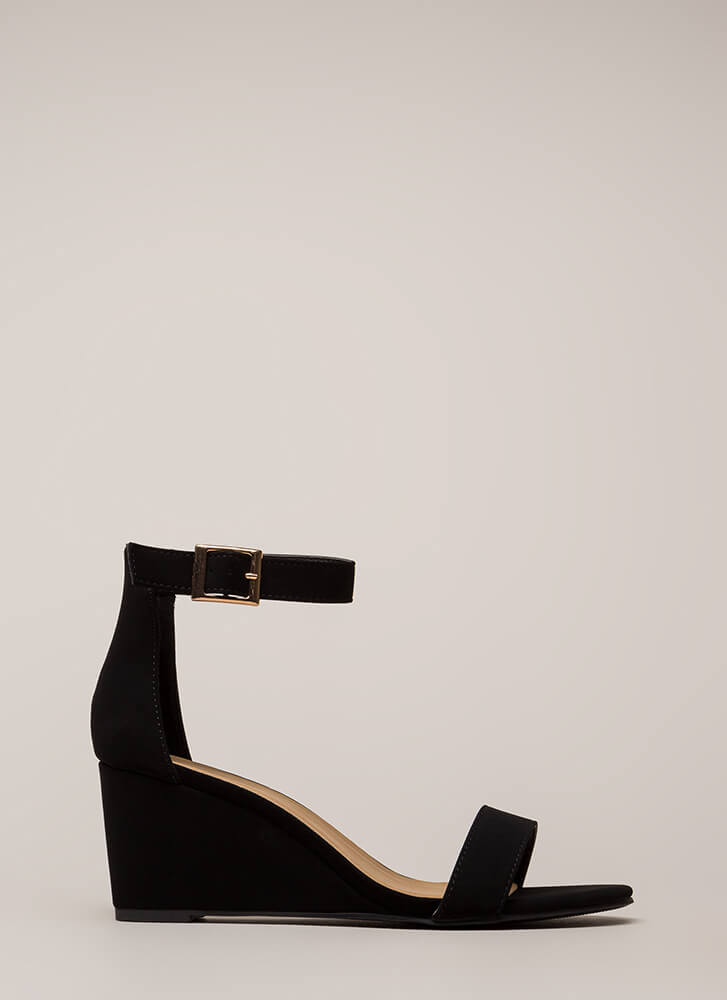 Every Day Faux Nubuck Ankle Strap Wedges BLACK