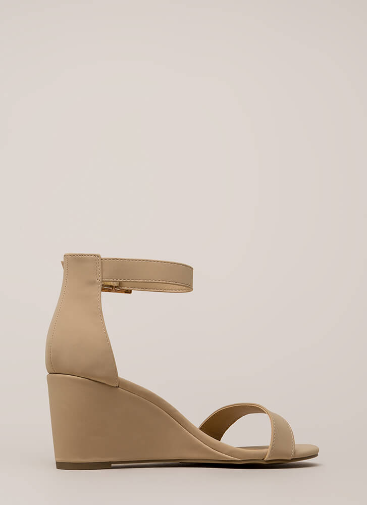 Every Day Faux Nubuck Ankle Strap Wedges NUDE
