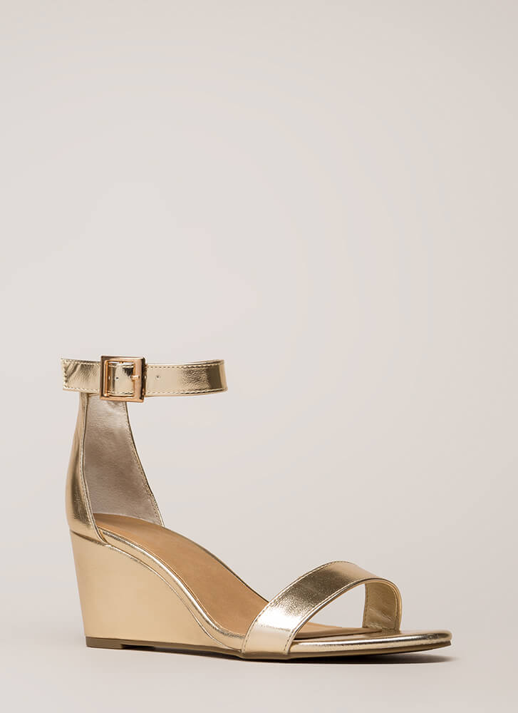 Every Day Metallic Ankle Strap Wedges GOLD
