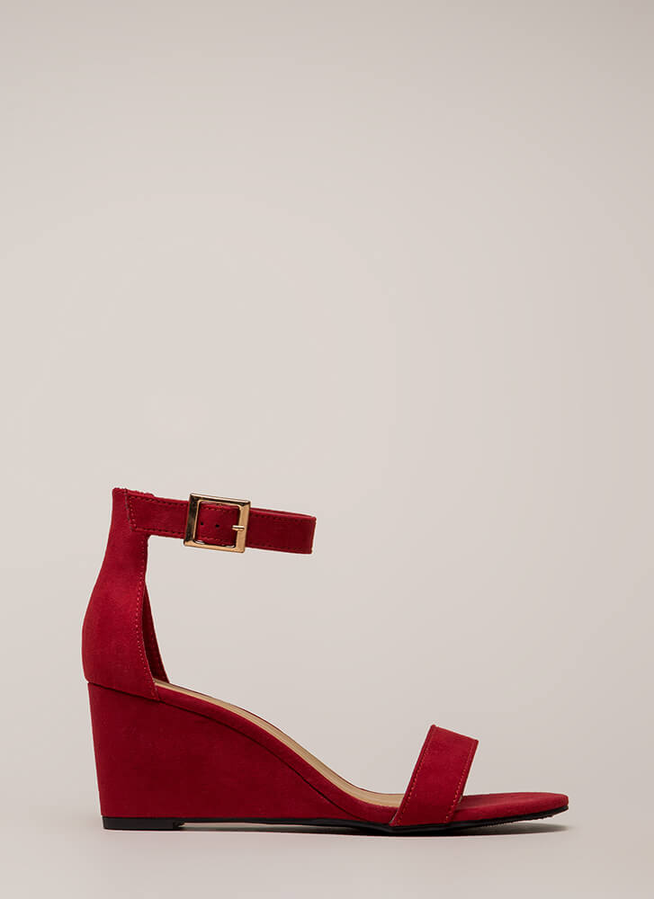 Every Day Faux Suede Ankle Strap Wedges RED