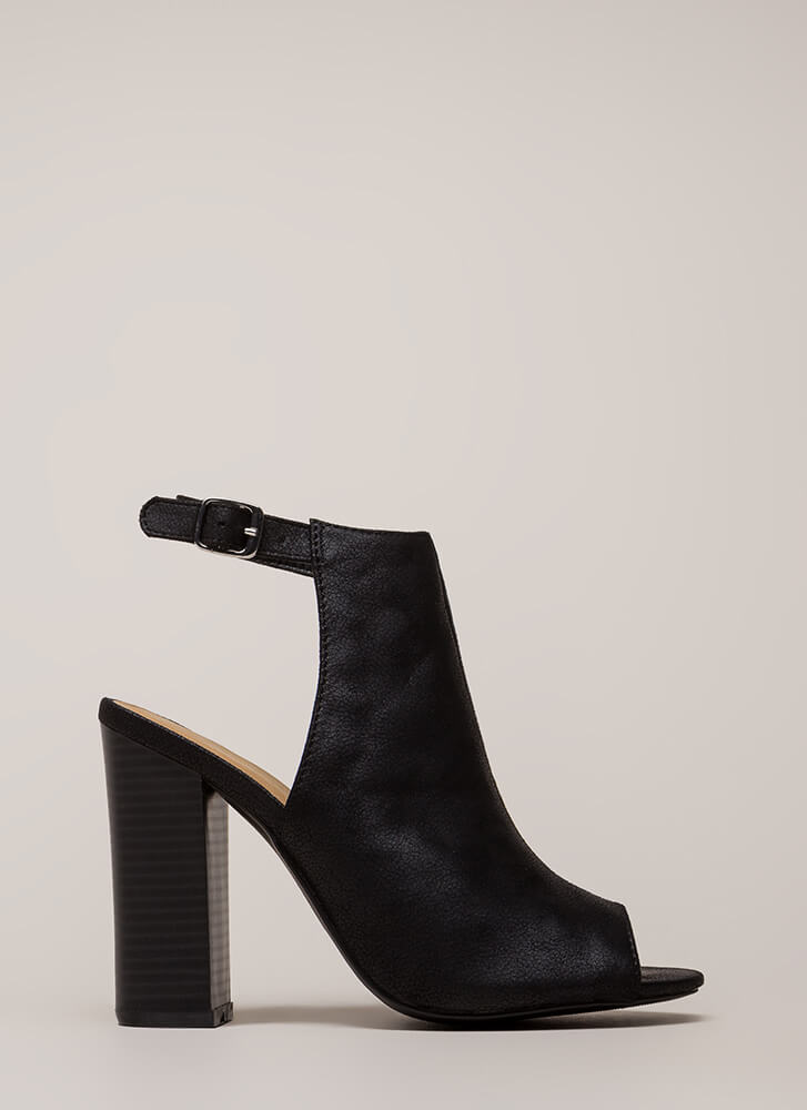 Go Ahead Chunky Backless Peep-Toe Heels BLACK