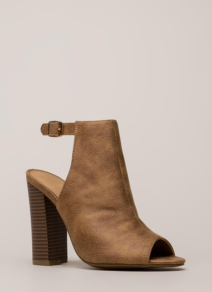 Go Ahead Chunky Backless Peep-Toe Heels TAN