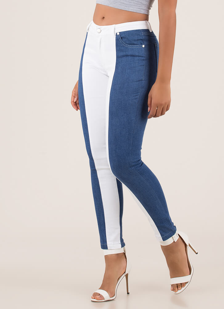 Half A Good Time Colorblock Skinny Jeans BLUEWHITE
