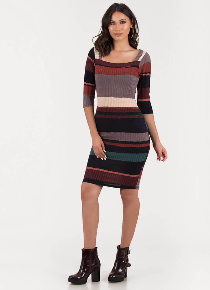 Square Off Striped Rib Knit Midi Dress MULTI