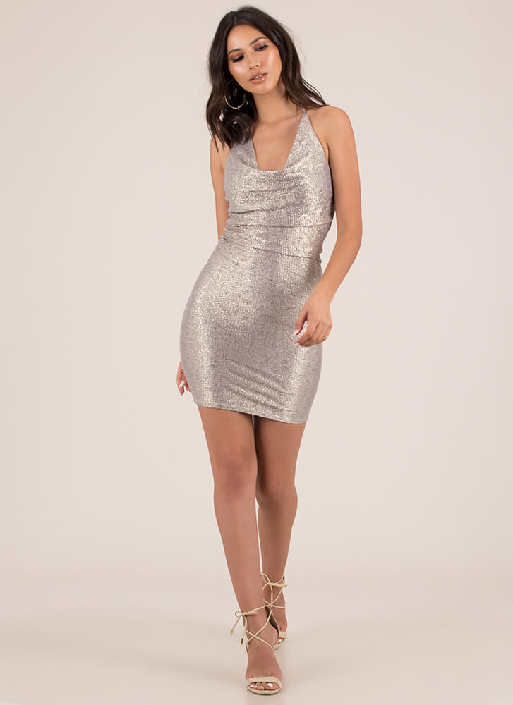 Standout Sparkly Halter Minidress GOLD