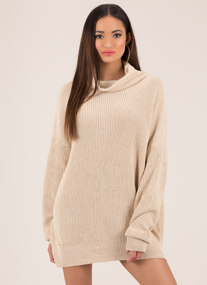 Peace In A Pod Knit Sweater Dress NATURAL