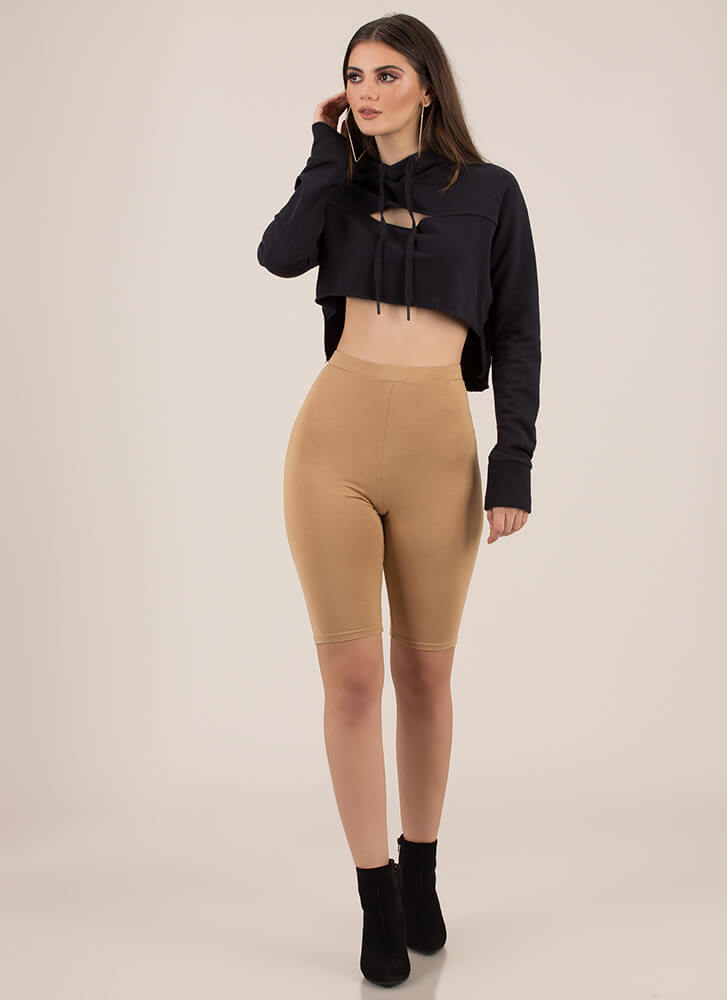The Final Cut-Out Cropped Hoodie Top BLACK