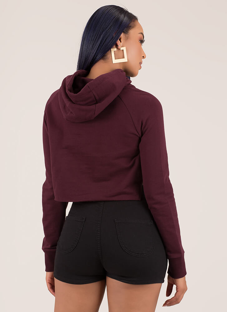 The Final Cut-Out Cropped Hoodie Top BURGUNDY