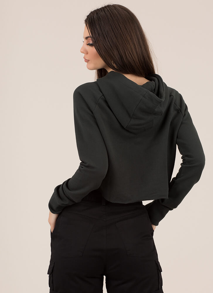 The Final Cut-Out Cropped Hoodie Top HGREEN