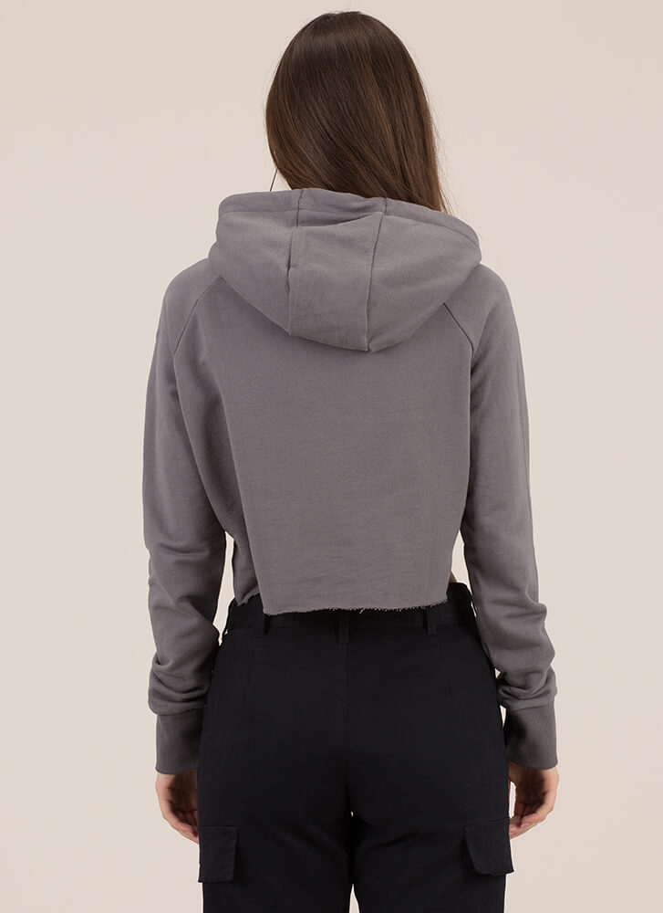 The Final Cut-Out Cropped Hoodie Top HGREY