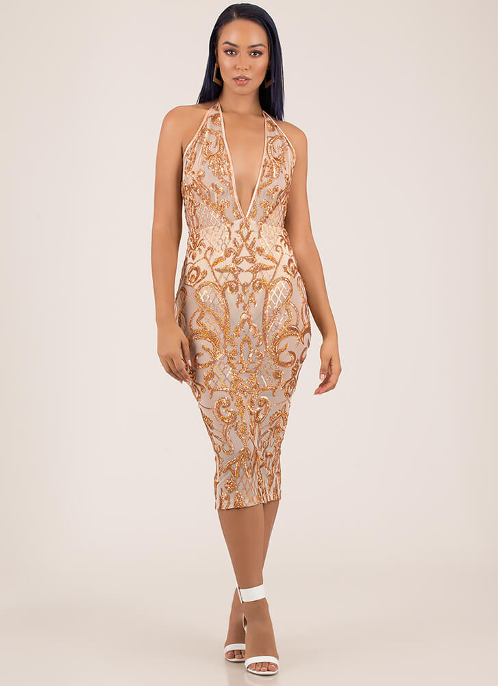 Hollywood And Vine Sequined Mesh Dress ROSEGOLD