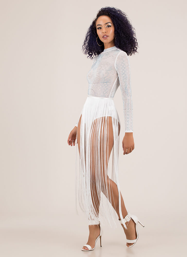 Fringe Party Jeweled Bodysuit Maxi WHITE