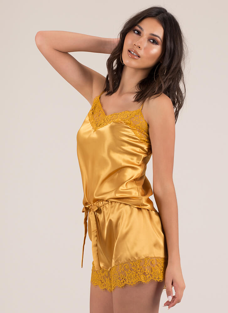 Goodnight Lacy Satin Cami And Shorts Set MUSTARD