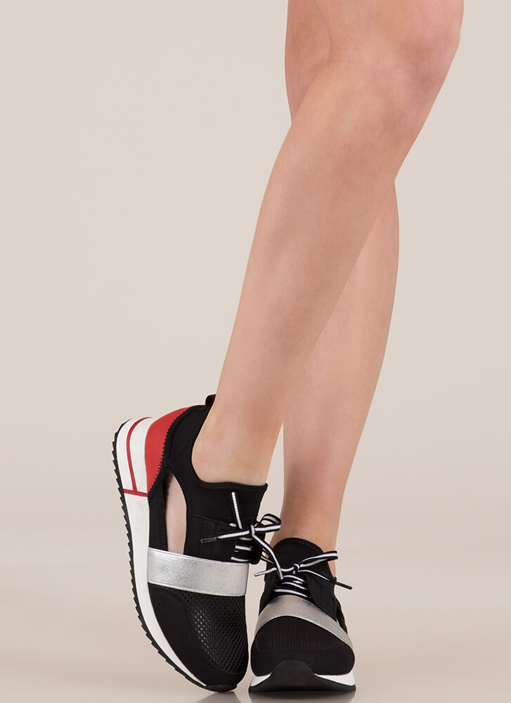 Starting A Band Cut-Out Sneakers BLACKRED