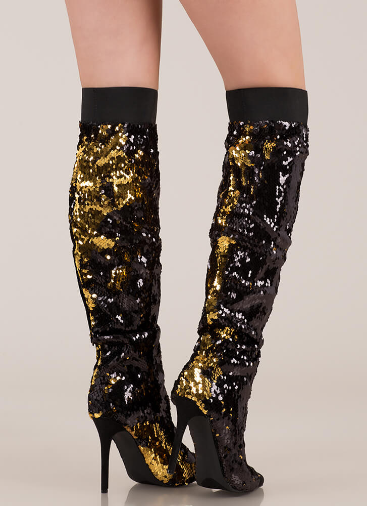 Shine Slouchy Over-The-Knee Sequin Boots BLACK