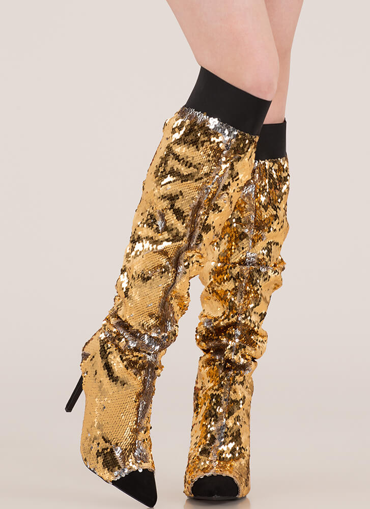 Shine Slouchy Over-The-Knee Sequin Boots GOLD