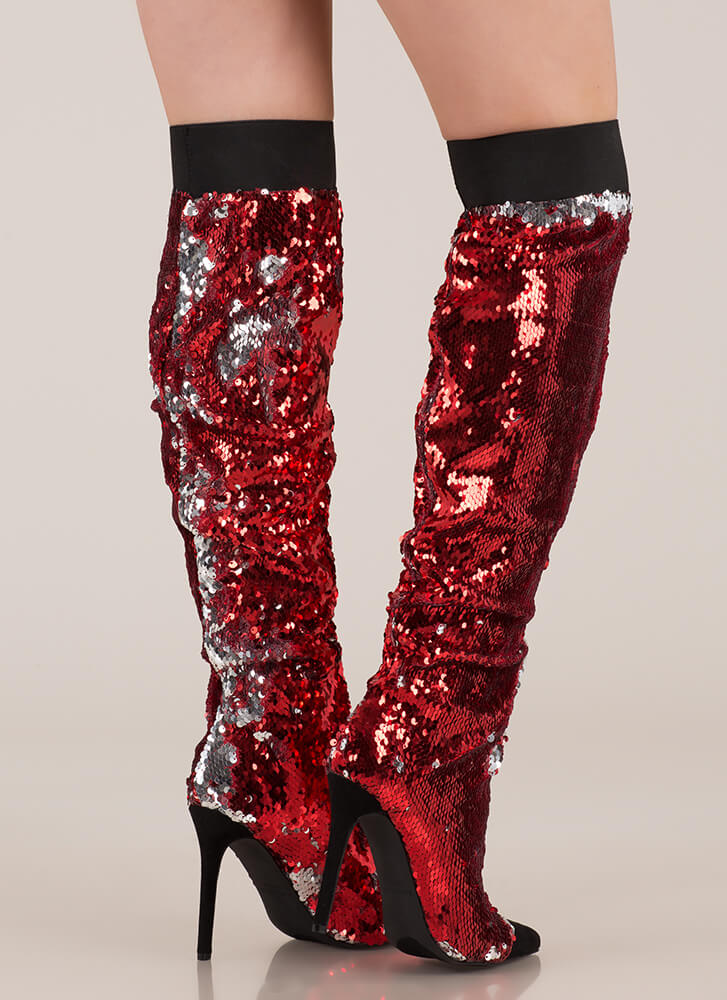 Shine Slouchy Over-The-Knee Sequin Boots RED