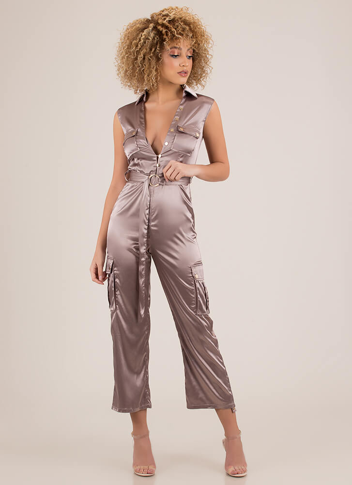 Precious Cargo Belted Satin Jumpsuit MOCHA