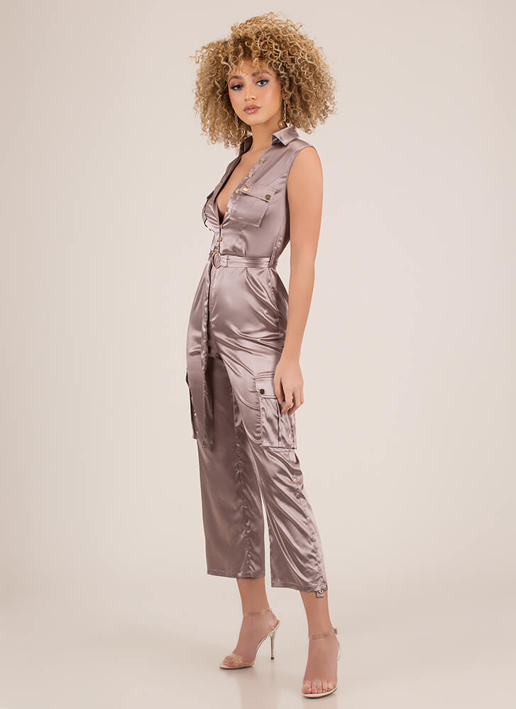 Precious Cargo Belted Satin Jumpsuit MOCHA (You Saved $34)