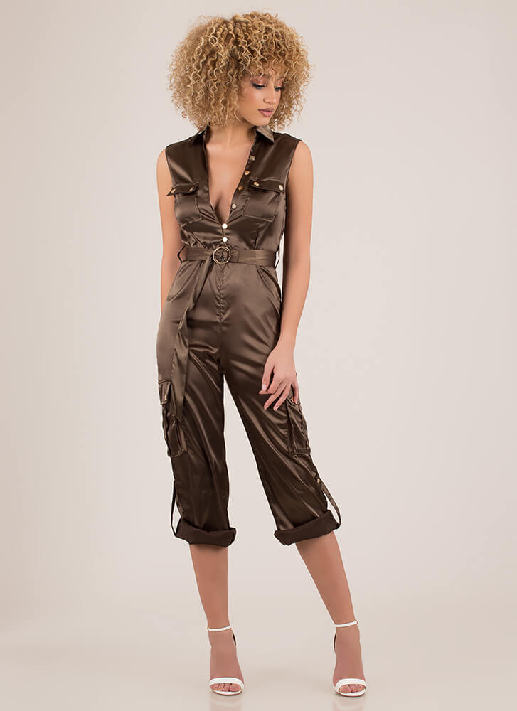 Precious Cargo Belted Satin Jumpsuit OLIVE (You Saved $34)