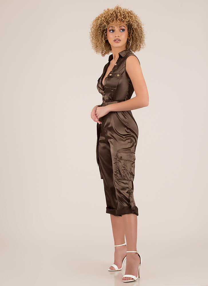 Precious Cargo Belted Satin Jumpsuit OLIVE
